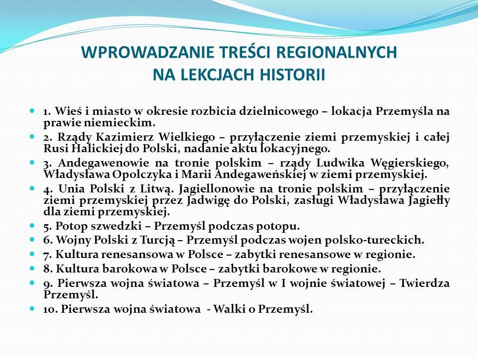 WPROWADZANIE TREŚCI REGIONALNYCH NA LEKCJACH HISTORII