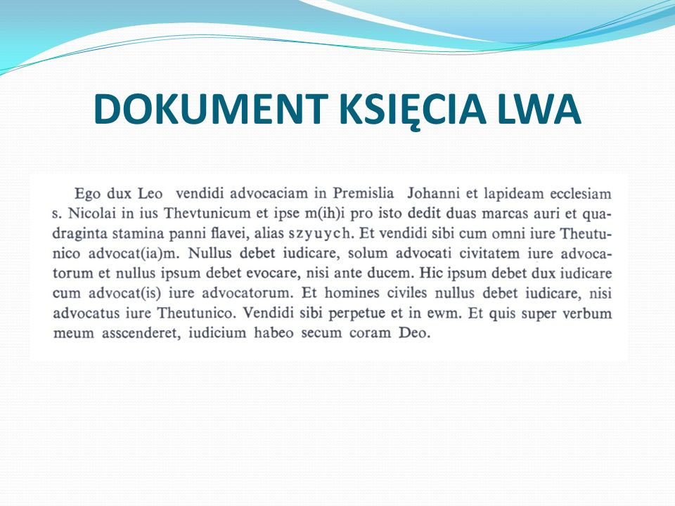 DOKUMENT KSIĘCIA LWA