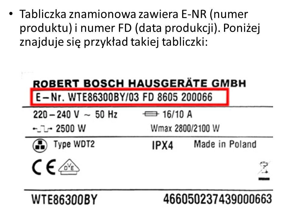 Tabliczka znamionowa zawiera E-NR (numer produktu) i numer FD (data produkcji).