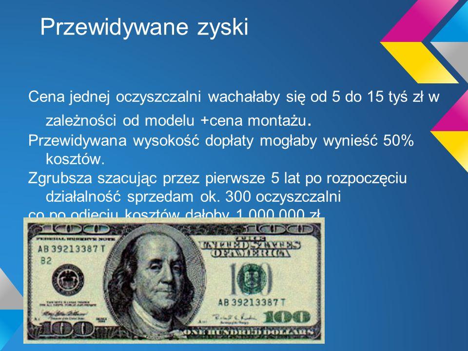 Przewidywane zyski Cena jednej oczyszczalni wachałaby się od 5 do 15 tyś zł w zależności od modelu +cena montażu.