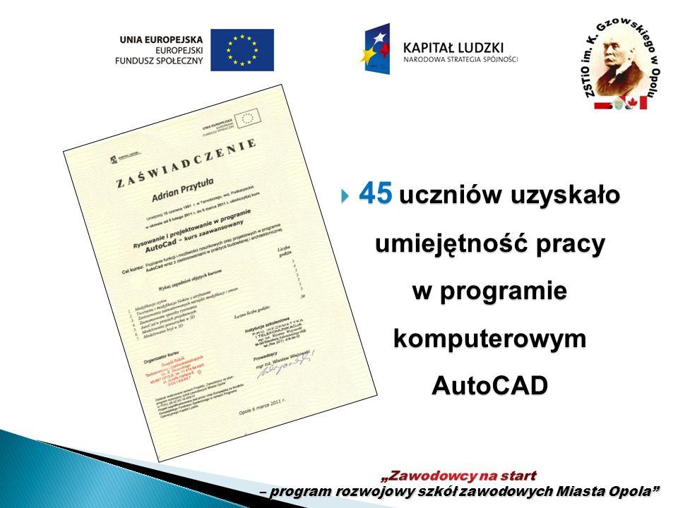 45 uczniów uzyskało umiejętność pracy w programie komputerowym AutoCAD