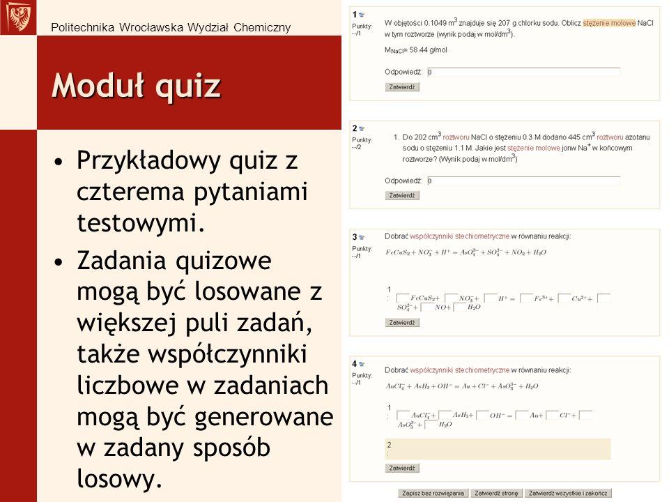 Moduł quiz Przykładowy quiz z czterema pytaniami testowymi.