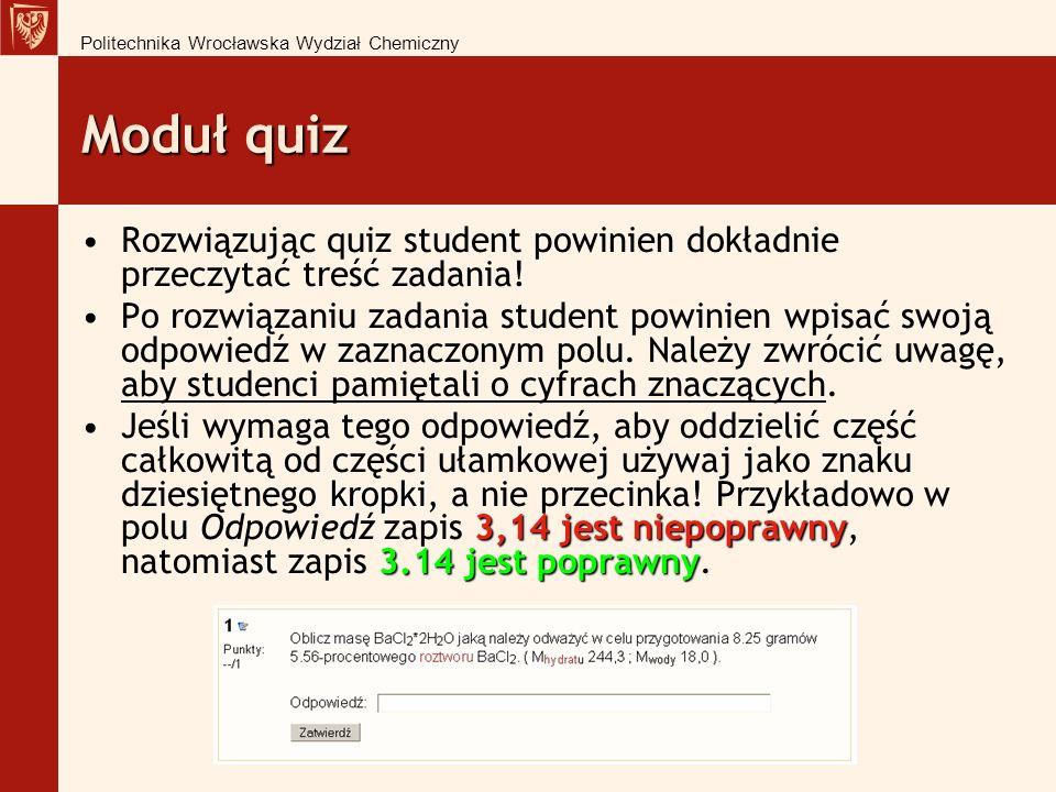 Politechnika Wrocławska Wydział Chemiczny