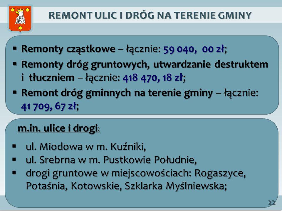 REMONT ULIC I DRÓG NA TERENIE GMINY