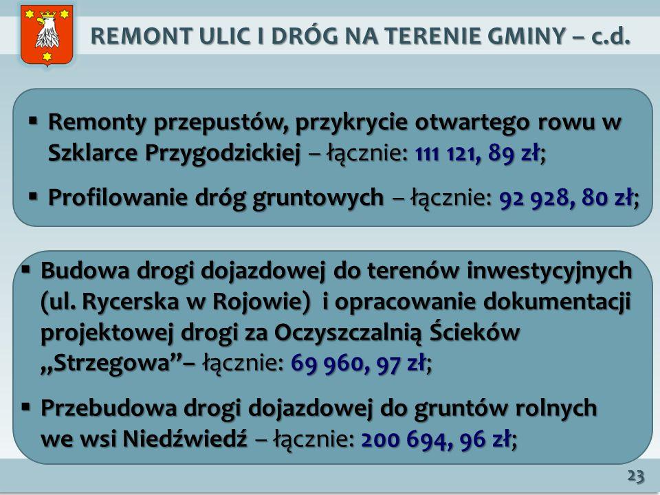 REMONT ULIC I DRÓG NA TERENIE GMINY – c.d.