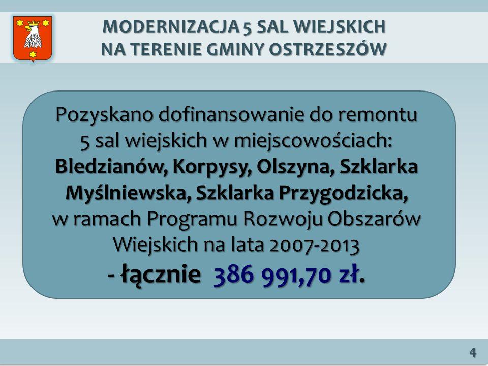MODERNIZACJA 5 SAL WIEJSKICH NA TERENIE GMINY OSTRZESZÓW