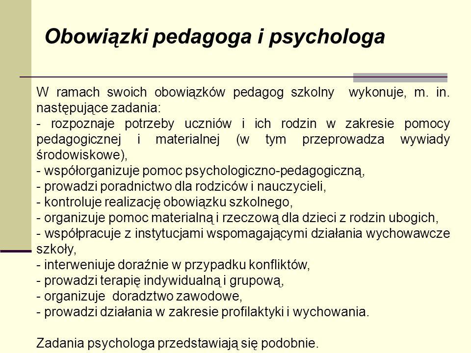 Obowiązki pedagoga i psychologa