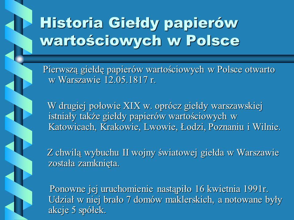 Historia Giełdy papierów wartościowych w Polsce
