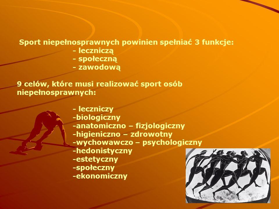 Sport niepełnosprawnych powinien spełniać 3 funkcje:. - leczniczą