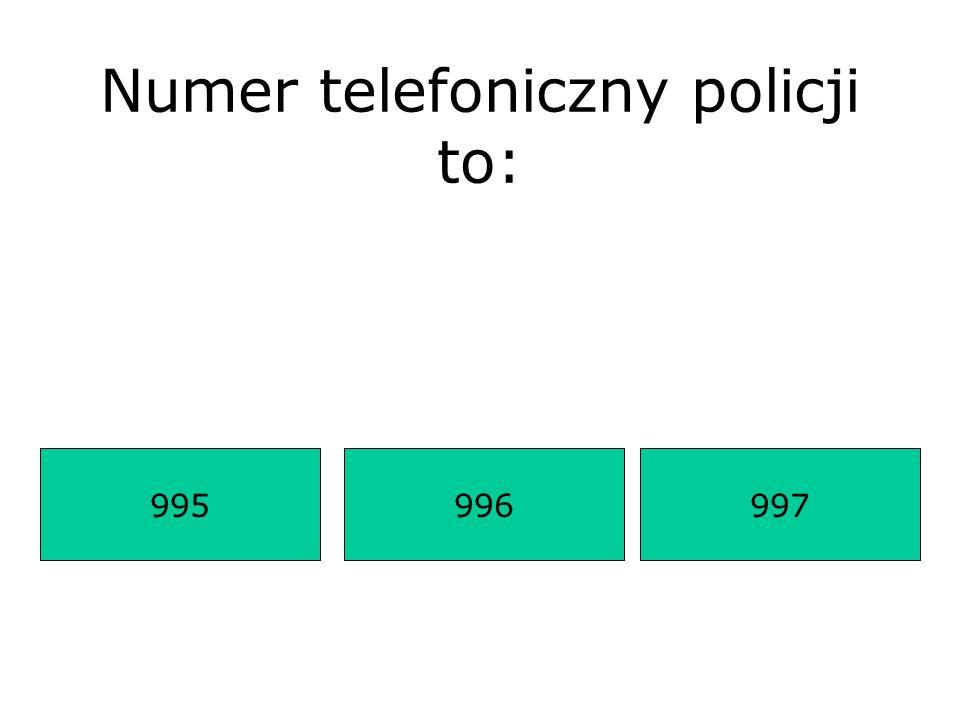 Numer telefoniczny policji to: