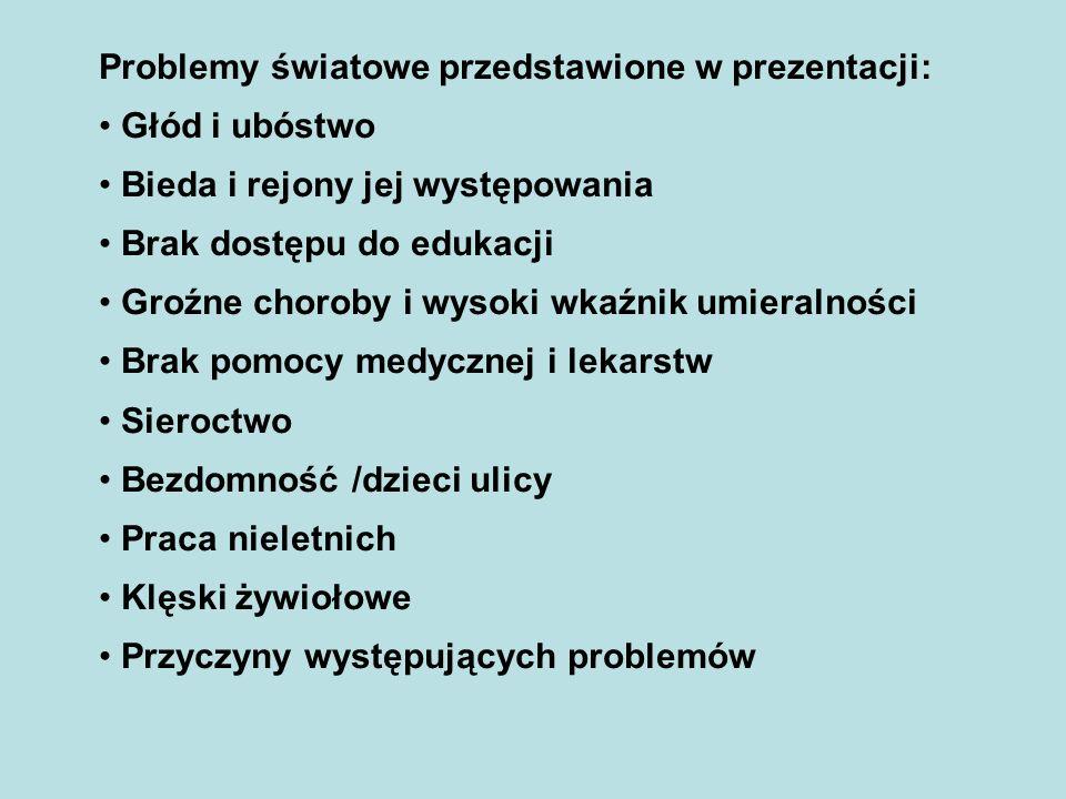 Problemy światowe przedstawione w prezentacji: