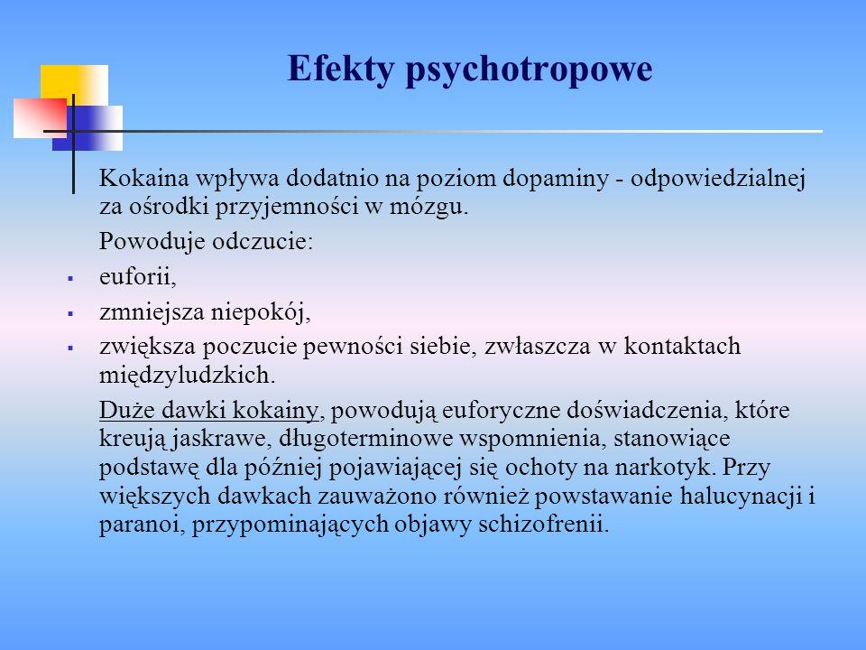 Efekty psychotropoweKokaina wpływa dodatnio na poziom dopaminy - odpowiedzialnej za ośrodki przyjemności w mózgu.