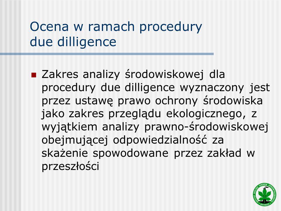 Ocena w ramach procedury due dilligence