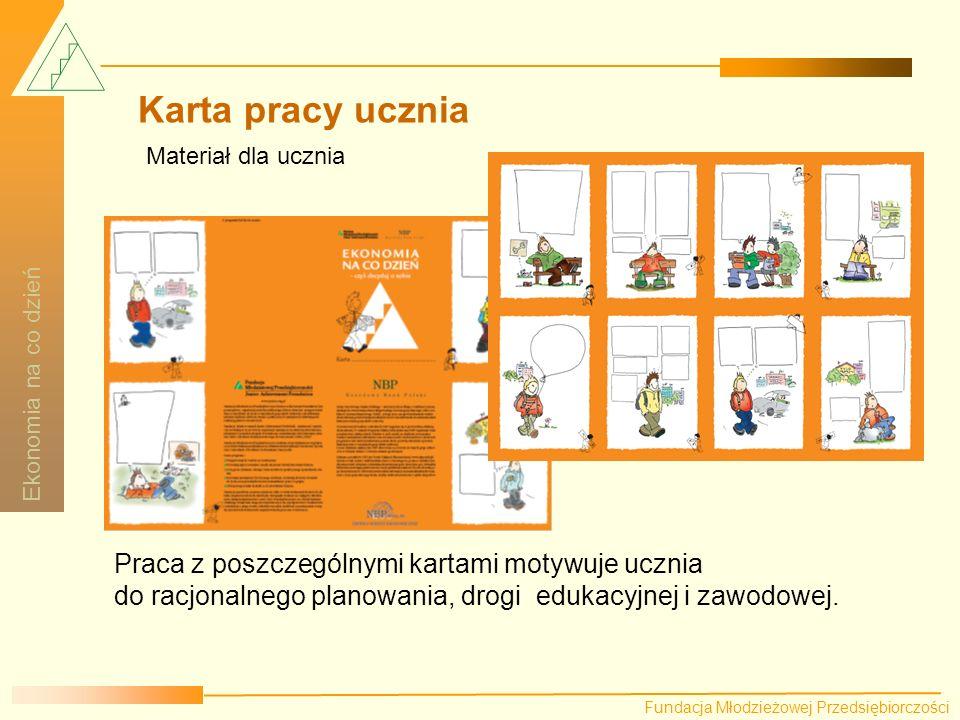 Karta pracy ucznia Praca z poszczególnymi kartami motywuje ucznia