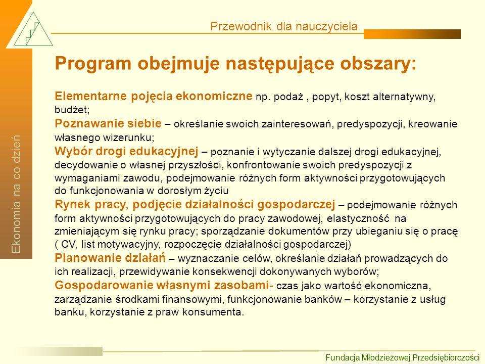 Program obejmuje następujące obszary: