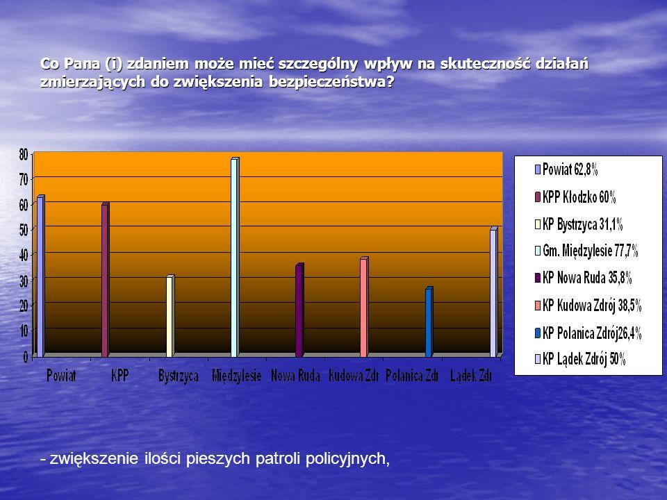- zwiększenie ilości pieszych patroli policyjnych,