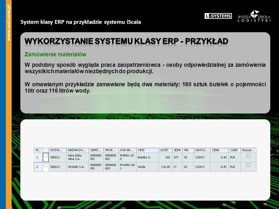 Wykorzystanie systemu klasy erp - przykład