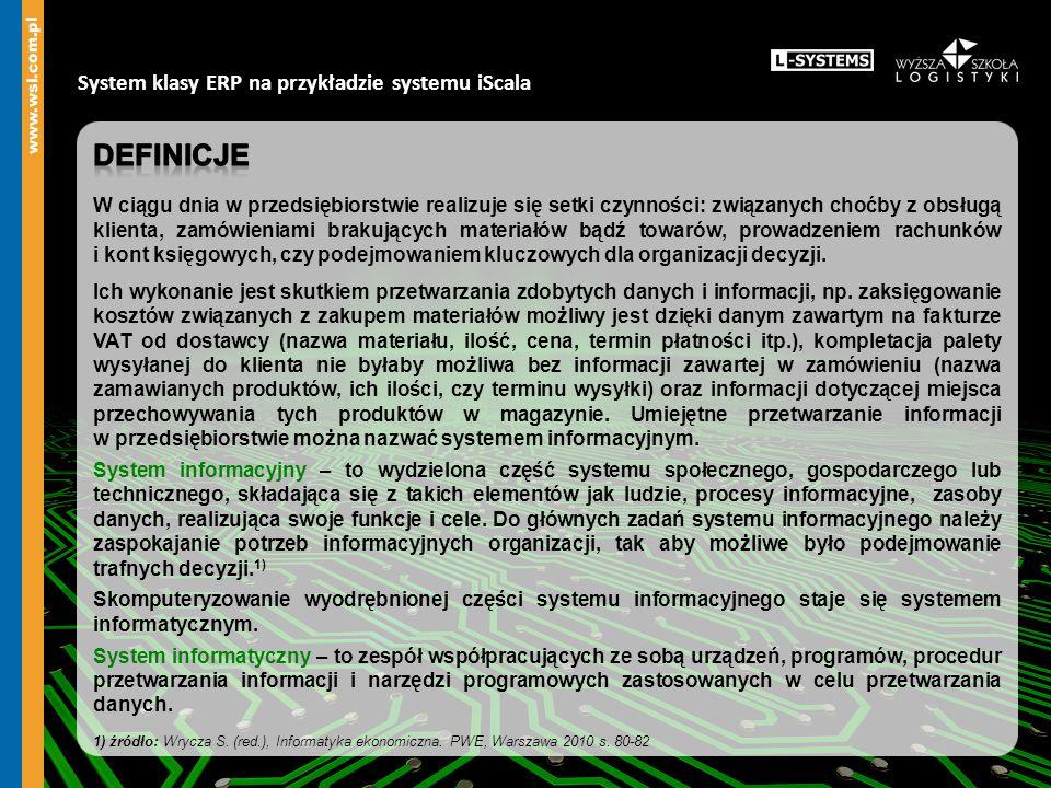 definicje System klasy ERP na przykładzie systemu iScala