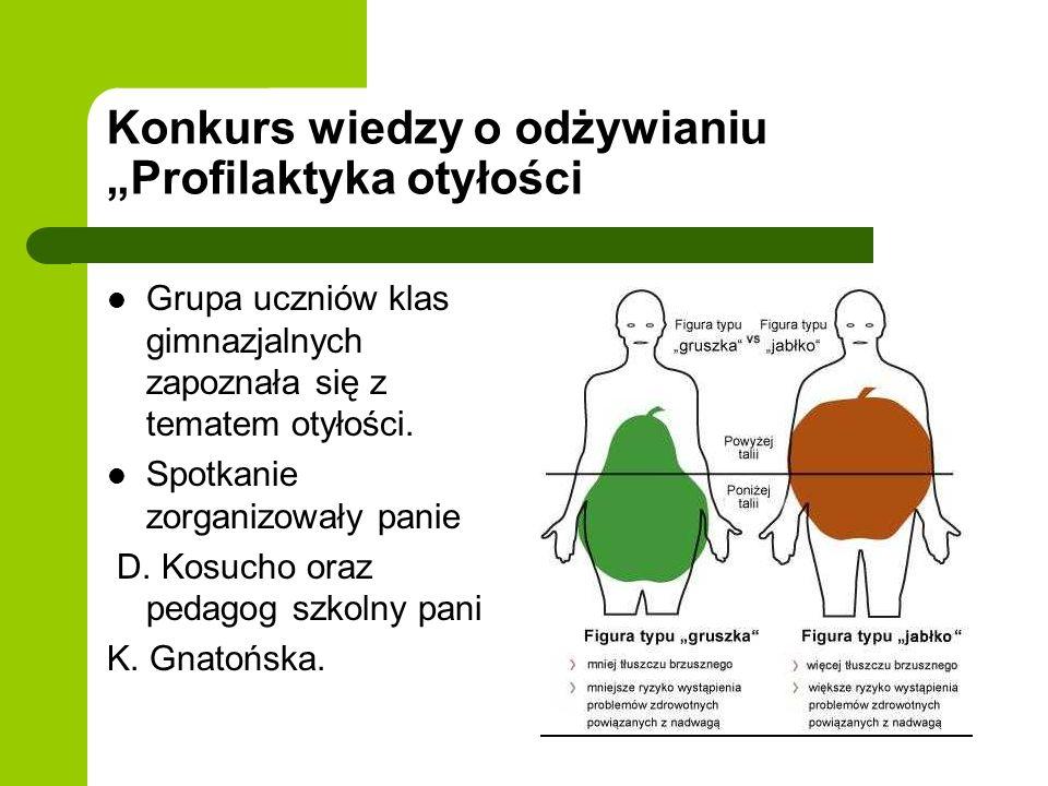 """Konkurs wiedzy o odżywianiu """"Profilaktyka otyłości"""