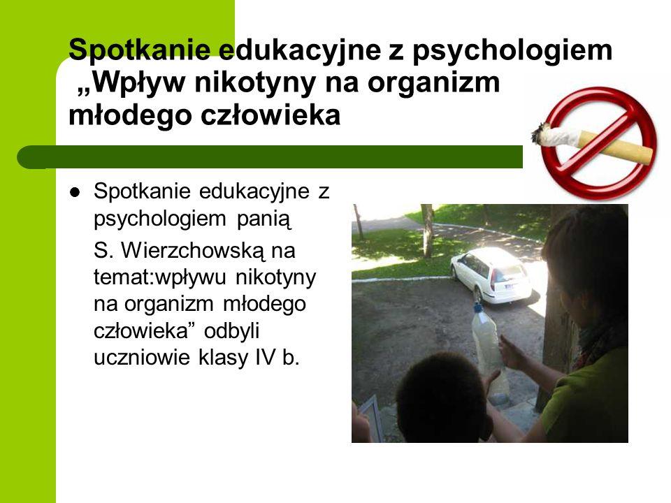 """Spotkanie edukacyjne z psychologiem """"Wpływ nikotyny na organizm młodego człowieka"""