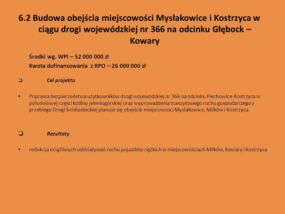 6.2 Budowa obejścia miejscowości Mysłakowice i Kostrzyca w ciągu drogi wojewódzkiej nr 366 na odcinku Głębock – Kowary