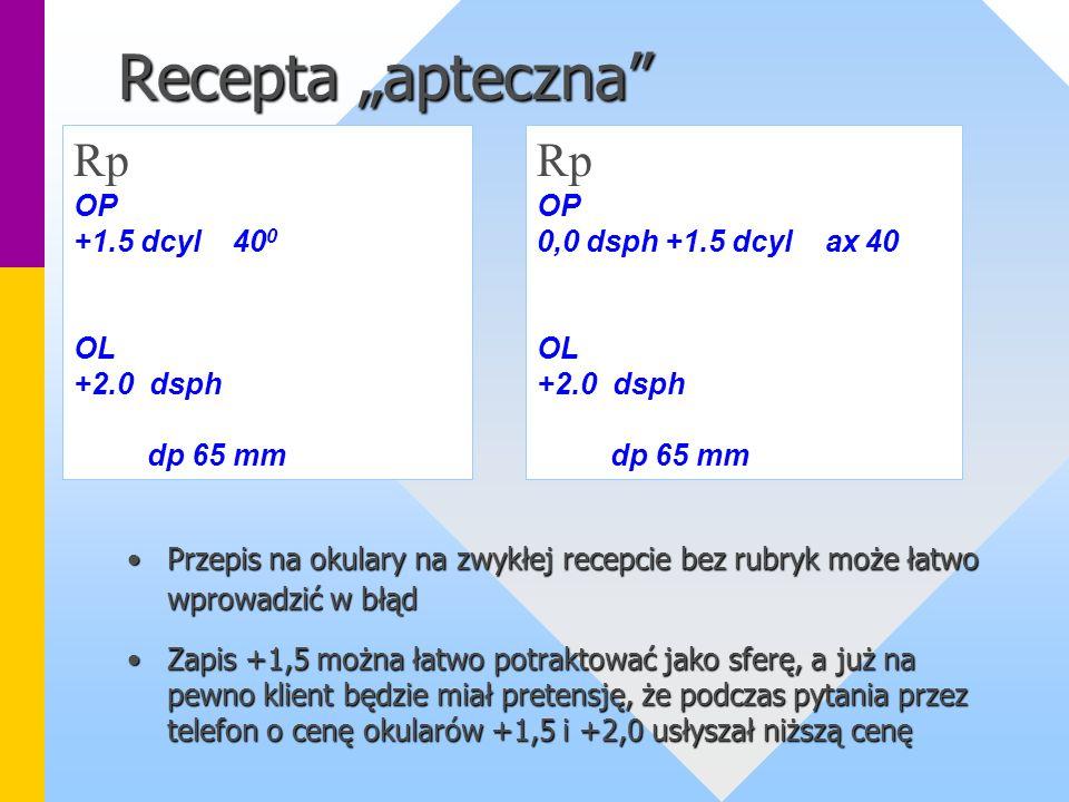 """Recepta """"apteczna Rp Rp OP +1.5 dcyl 400 OL +2.0 dsph dp 65 mm OP"""