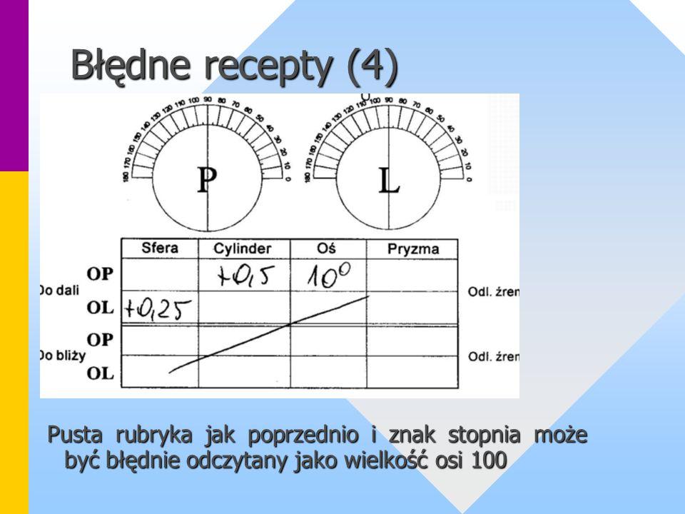 Błędne recepty (4) Pusta rubryka jak poprzednio i znak stopnia może być błędnie odczytany jako wielkość osi 100.