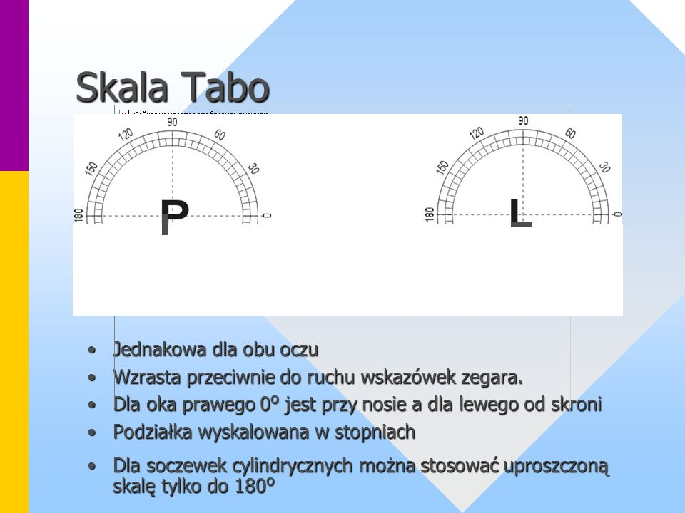 Skala Tabo Jednakowa dla obu oczu