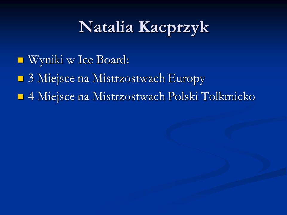 Natalia Kacprzyk Wyniki w Ice Board: 3 Miejsce na Mistrzostwach Europy