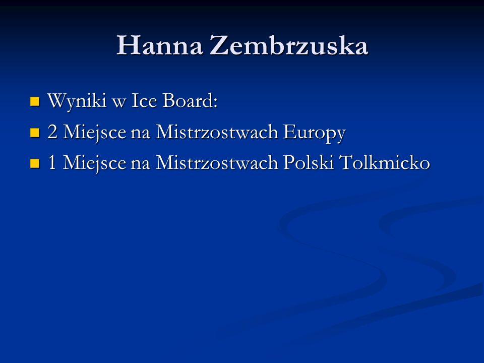 Hanna Zembrzuska Wyniki w Ice Board: 2 Miejsce na Mistrzostwach Europy