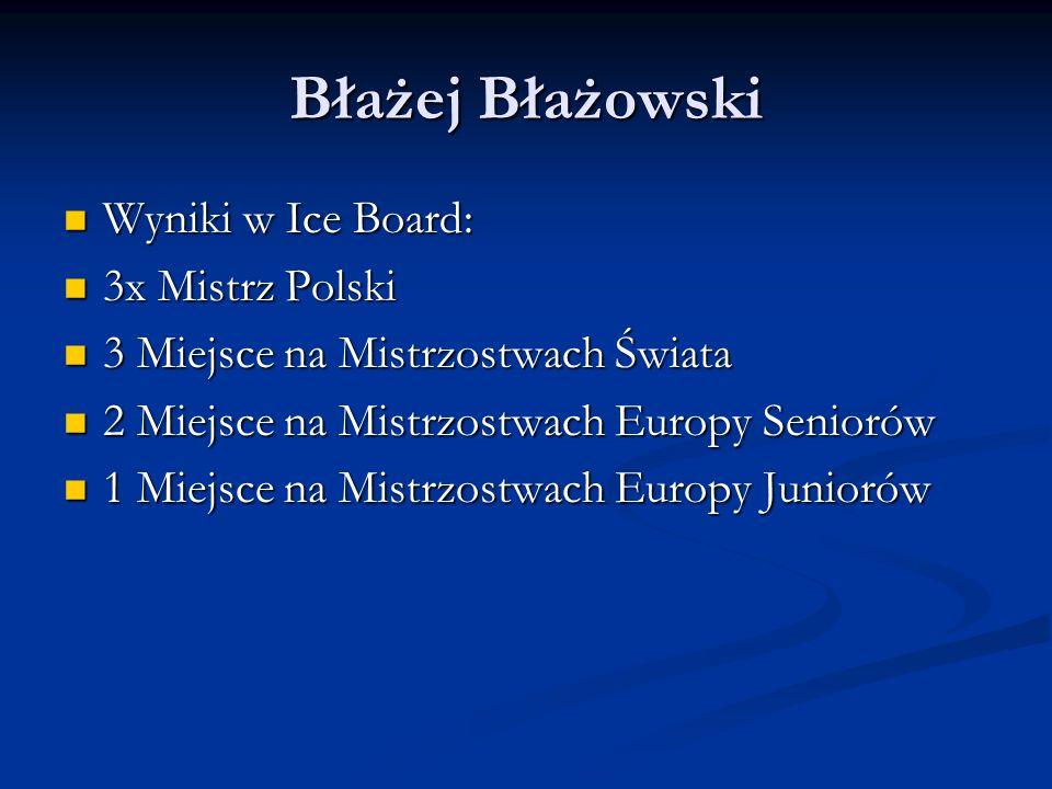 Błażej Błażowski Wyniki w Ice Board: 3x Mistrz Polski