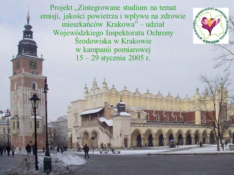 """Projekt """"Zintegrowane studium na temat emisji, jakości powietrza i wpływu na zdrowie mieszkańców Krakowa – udział Wojewódzkiego Inspektoratu Ochrony Środowiska w Krakowie w kampanii pomiarowej 15 – 29 stycznia 2005 r."""