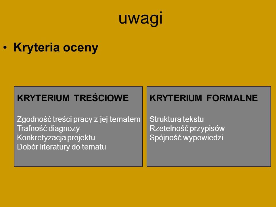 uwagi Kryteria oceny KRYTERIUM TREŚCIOWE KRYTERIUM FORMALNE