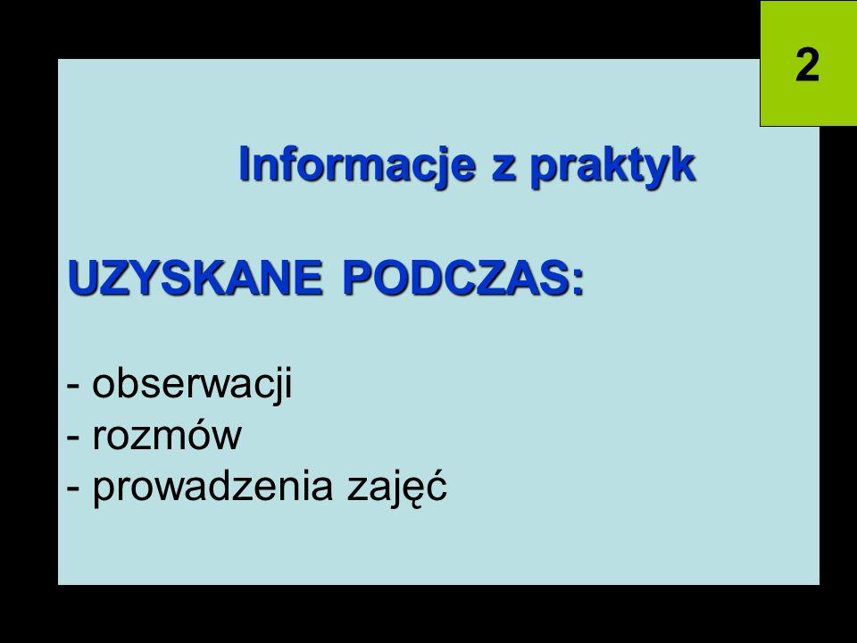 2 Informacje z praktyk UZYSKANE PODCZAS: - obserwacji - rozmów