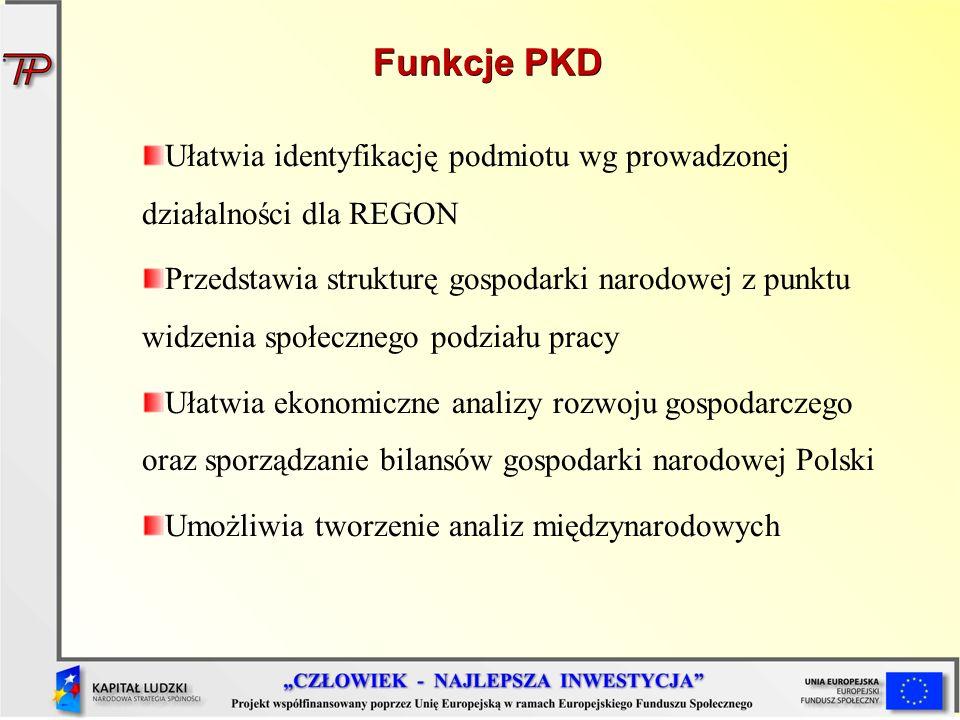 Funkcje PKD Ułatwia identyfikację podmiotu wg prowadzonej działalności dla REGON.