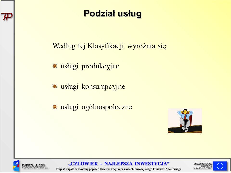 Podział usług Według tej Klasyfikacji wyróżnia się: usługi produkcyjne