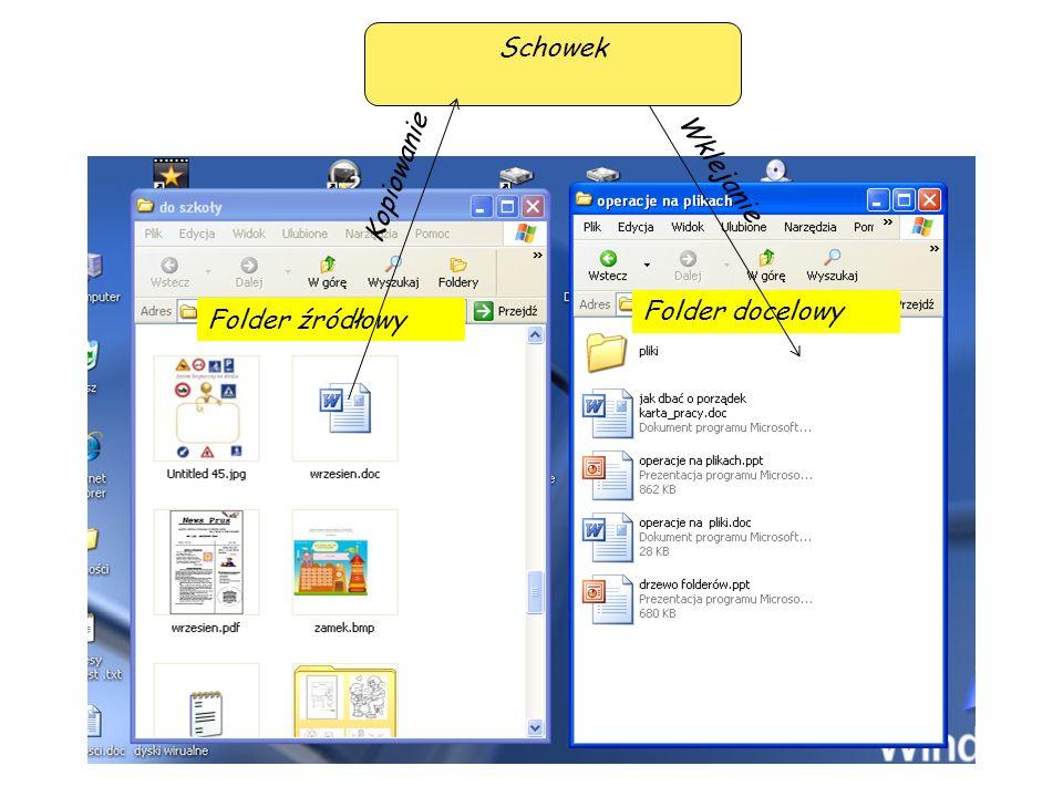 Schowek Kopiowanie Wklejanie Folder docelowy Folder źródłowy