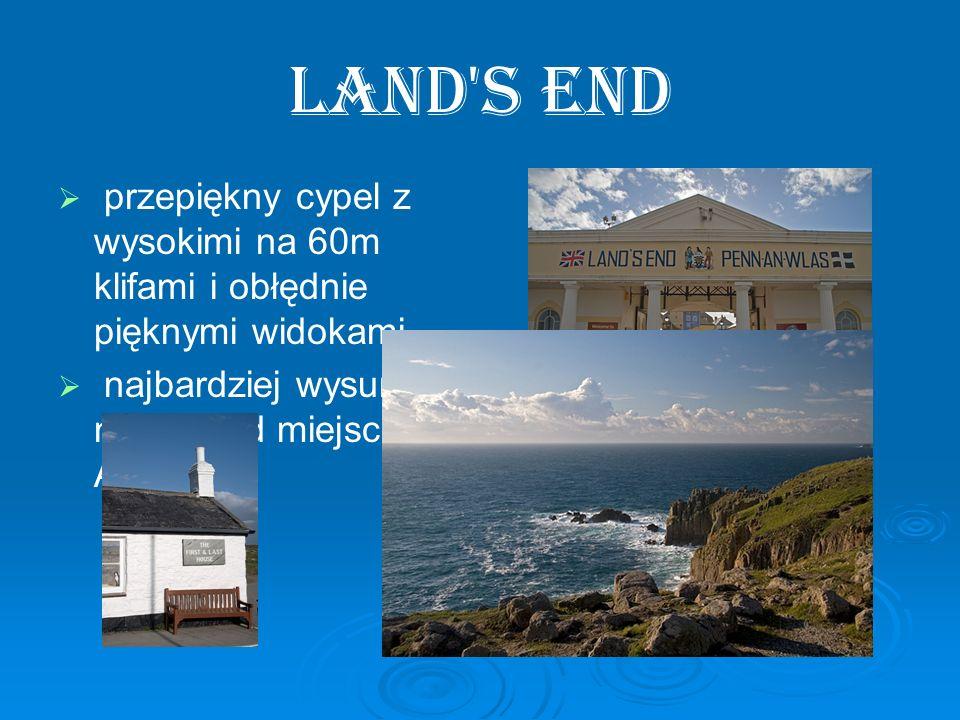 Land s End przepiękny cypel z wysokimi na 60m klifami i obłędnie pięknymi widokami.