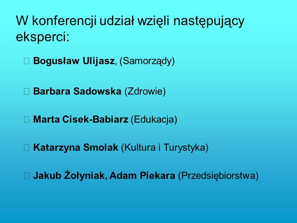 W konferencji udział wzięli następujący eksperci: