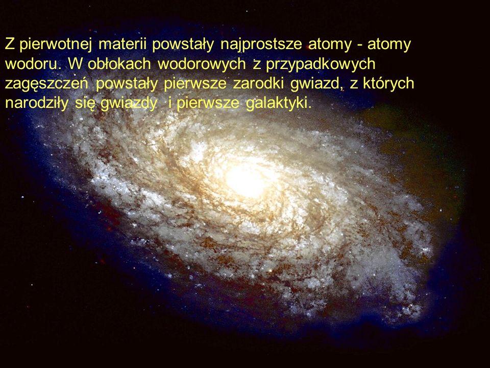 Z pierwotnej materii powstały najprostsze atomy - atomy wodoru