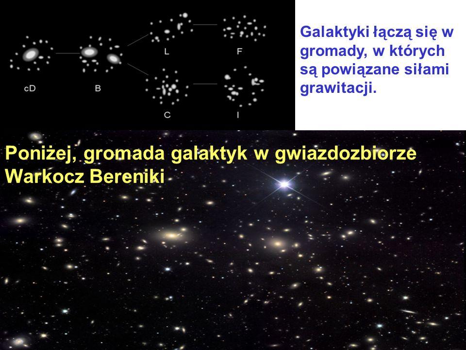 Poniżej, gromada galaktyk w gwiazdozbiorze Warkocz Bereniki