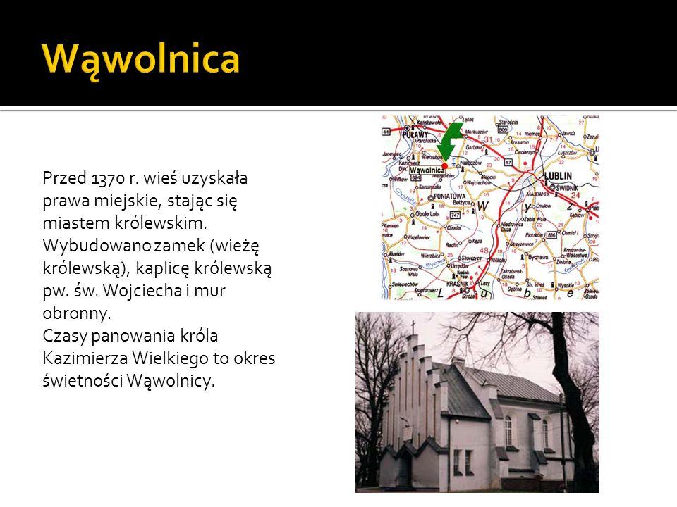 Wąwolnica Przed 1370 r. wieś uzyskała prawa miejskie, stając się miastem królewskim.