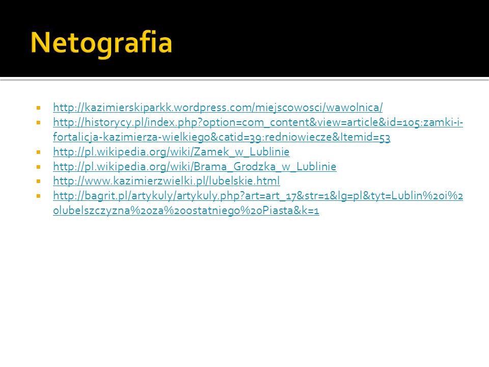 Netografiahttp://kazimierskiparkk.wordpress.com/miejscowosci/wawolnica/