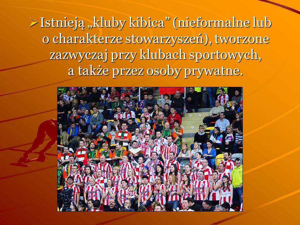 """Istnieją """"kluby kibica (nieformalne lub o charakterze stowarzyszeń), tworzone zazwyczaj przy klubach sportowych, a także przez osoby prywatne."""