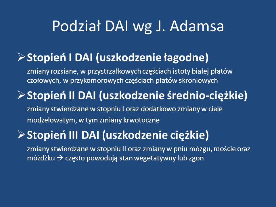 Podział DAI wg J. Adamsa Stopień I DAI (uszkodzenie łagodne)