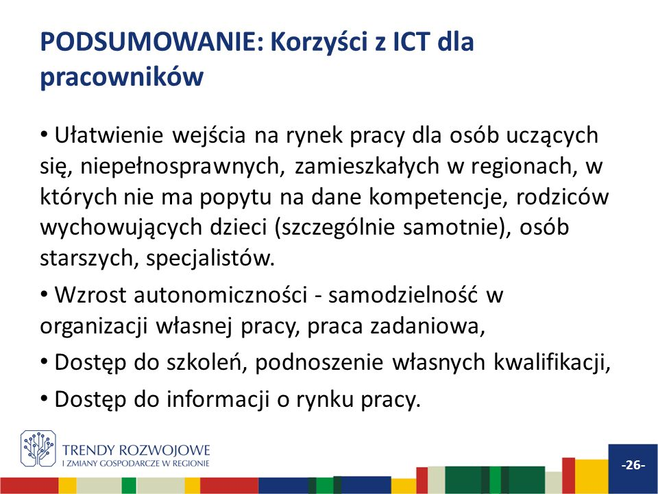 PODSUMOWANIE: Korzyści z ICT dla pracowników