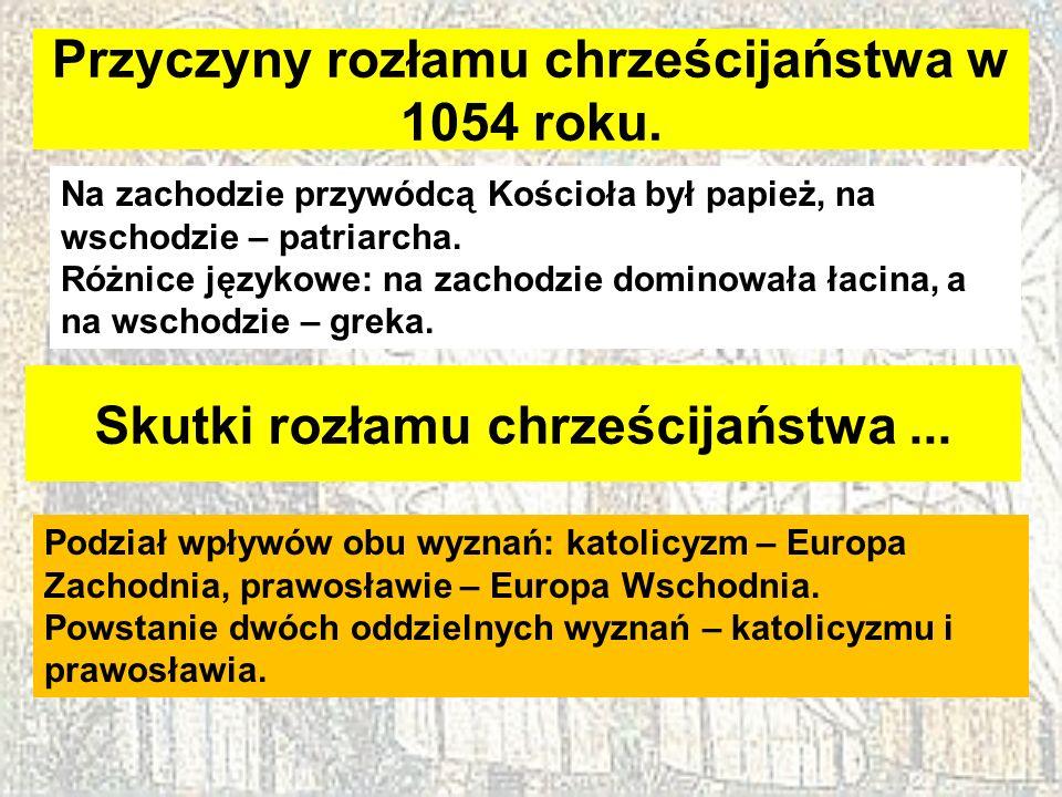 Przyczyny rozłamu chrześcijaństwa w 1054 roku.