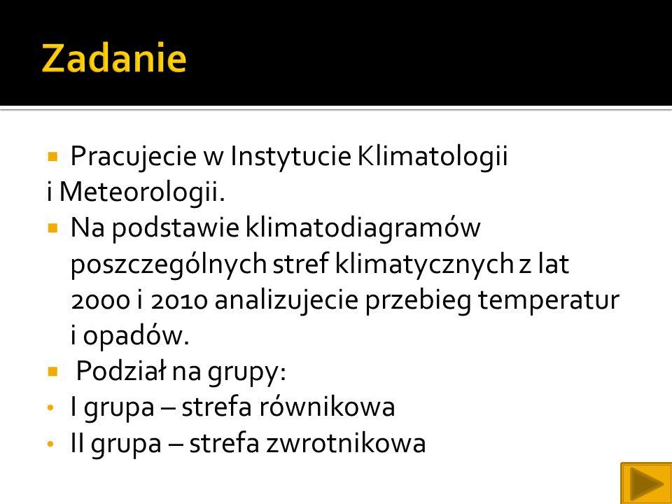 Zadanie Pracujecie w Instytucie Klimatologii i Meteorologii.