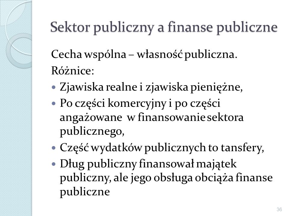 Sektor publiczny a finanse publiczne
