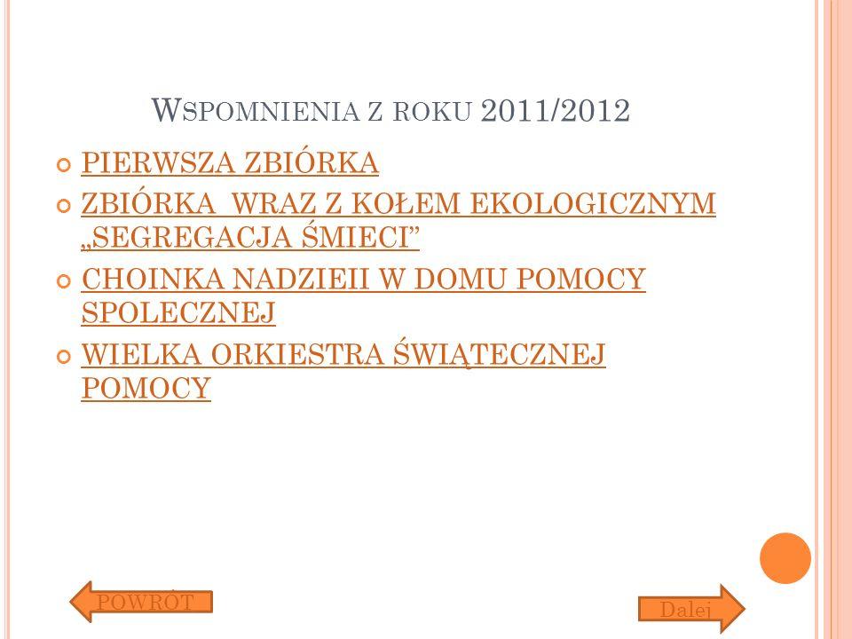 Wspomnienia z roku 2011/2012 PIERWSZA ZBIÓRKA
